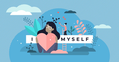 Self esteem vector illustration. Tiny personal confidence persons concept.
