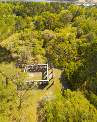 Beautiful aerial view of Old Sheldon Church and surrounding forest, South Carolina