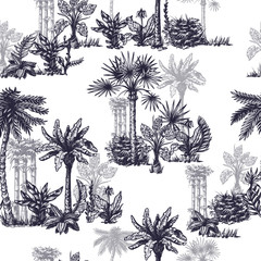 Seamless pattern with graphic tropical trees such as palm, banana, monstera for interior design. Vector