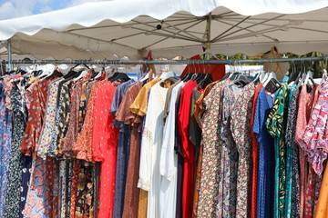 Stand of clothes at outdoor market