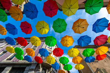 16 AUG 2019 - Gap, Hautes-Alpes, France - Colored umbrellas