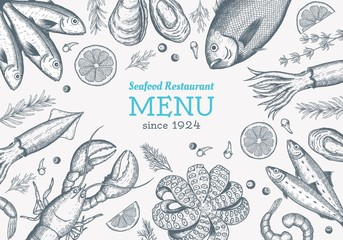 Vector frame with hand drawn seafood illustration - fresh fish, lobster, crab, oyster, mussel, squid and spice. Decorative card or flyer design with sea food sketch. Vintage menu template.