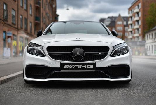 Copenhagen / Denmark - 07.22.19:  test drive of luxury car Mercedes AMG С 63 coupe 2018 at street city