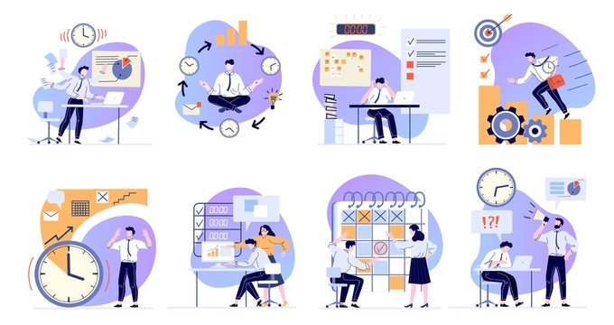 Time management. Scheduling working tasks, deadline schedule and office manager working with computer flat vector illustrations set. Job stress and work productivity. Business workflow optimization