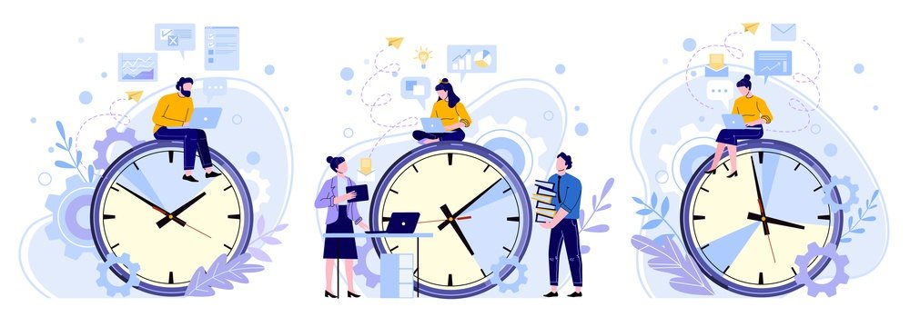Efficiency work time. Man, woman and workers teamwork hours. Freelance workers, productivity clocks and people working on laptop vector illustrations set. Workflow scheduling, time management