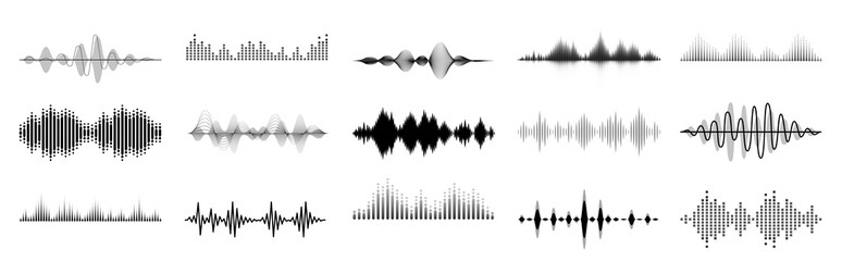 Black sound waves. Abstract music wave, radio signal frequency and digital voice visualisation. Tune equalizer vector set. Monochrome volume audio lines, soundwaves rhythm isolated on white background