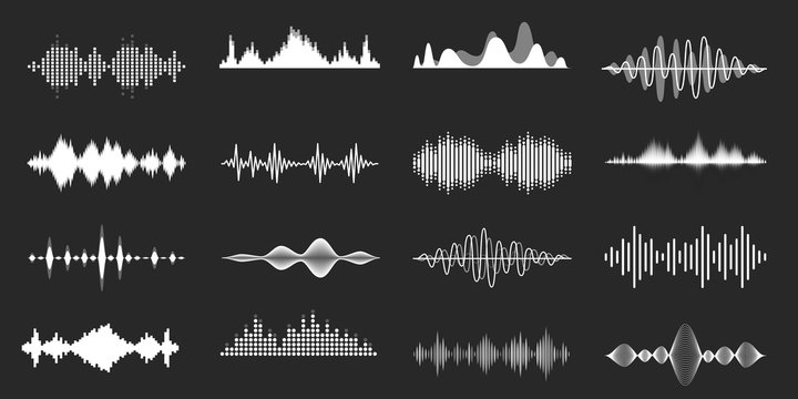 Sound waves. Playing song visualisation, radio frequency lines and sounds amplitudes. Abstract music wave, stereo equalizer and volume levels vector set. Monocolor audio soundtrack, musical vibrations
