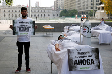 Demonstrators take part in a protest against climate change called by Greenpeace activists ahead of the 2019 United Nations Climate Change Conference, also known as COP25, in Santiago