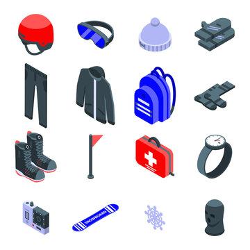 Snowboarding equipment icons set. Isometric set of snowboarding equipment vector icons for web design isolated on white background