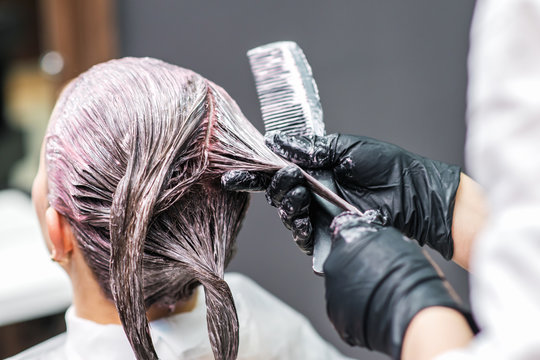 Close up back view of hairdresser is applying color to customer's hair in black gloves. Hair coloring in a beauty salon. Beauty and people concept.
