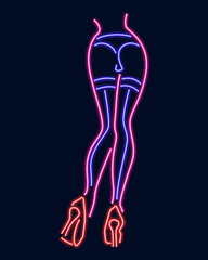 Neon silhouette of girl. Vector