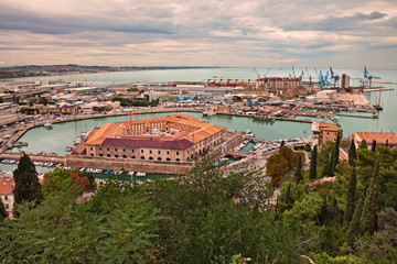 Ancona, Marche, Italy: view of the harbor and the Mole Vanvitelliana
