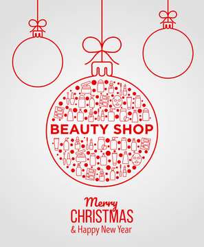 Concept with beauty products in Christmas ball with thin line icons: skin care, cream, gel, organic cosmetics, make up, soap dispenser, nail care, beauty box, sheet mask. Modern vector illustration.