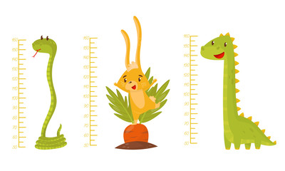 Height Children Chart With African Cute Animal Characters Vector Illustrated Set