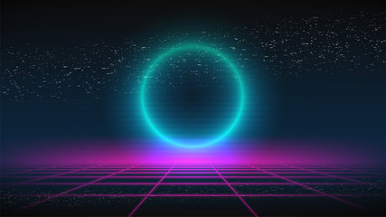 Synthwave background. Dark Retro Futuristic backdrop with pink perspective grid and glowing blue circle. TV glitch. Abstract Retrowave template. 80s Vaporwave style. Stock vector illustration