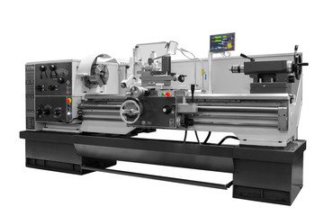 Manufacturing professional lathe machine . Industrial concept. Programmable modern digital lathe...