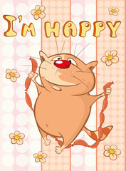 In de dag Babykamer Happy Birthday Card Cute Cartoon Character Cat . Vector Greeting Card. Happy Moment. Congratulation