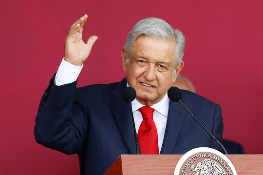Mexico's President Andres Manuel Lopez Obrador speaks during an official event to mark the beginning of the construction of a new international airport, at the Santa Lucia military airbase in Zumpango