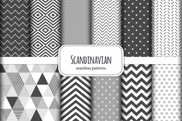 Cute set of Scandinavian geometric seamless patterns in neutral palette colors, vector illustration