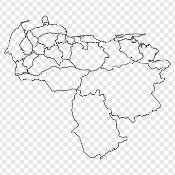 Blank map of Venezuela. High quality map Venezuela with provinces on transparent background for your web site design, logo, app, UI. Stock vector.  EPS10.