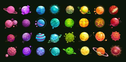 Mega huge pack of fantasy cartoon colorful planets.