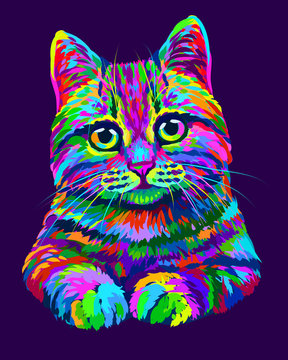 Cat. Hand-drawn, abstract, multicolored portrait of a cat looking forward on a purple background in the style of pop art.