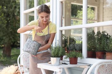 Young woman watering home plants at white wooden table outdoors