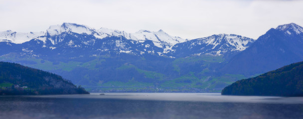 Mountain landscape in the winter. Switzerland. Lake Lucerne.