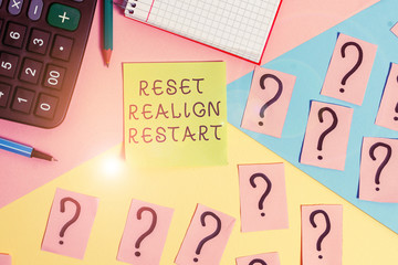 Conceptual hand writing showing Reset Realign Restart. Concept meaning Life audit will help you put things in perspectives Mathematics stuff and writing equipment on pastel background