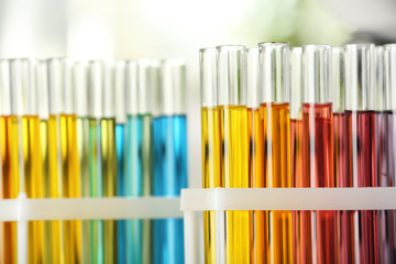 Fototapete - Test tubes with color liquids on blurred background, closeup view