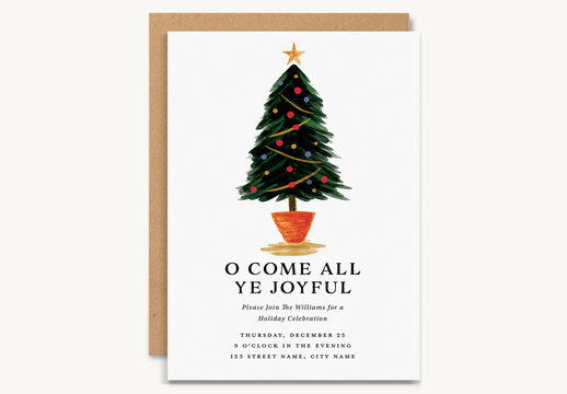 Holiday Party Invitation Layout with Christmas Tree