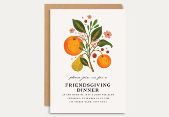 Thanksgiving Dinner Invitation Layout with Fruits