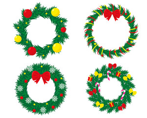 Set of decorated christmas wreaths. New Year and Christmas vector illustrations isolated on white background.