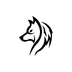 Wolf bolt Emblem, mascot head silhouette, Template for business or t-shirt design. Vector