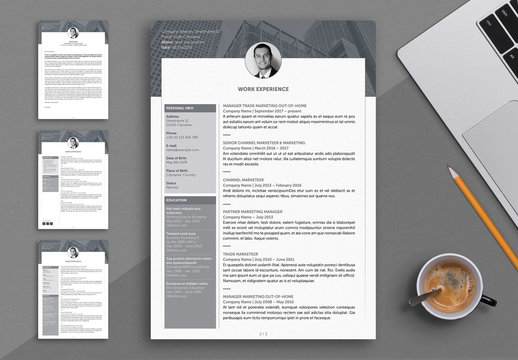 Resume Layout with Grayscale Elements