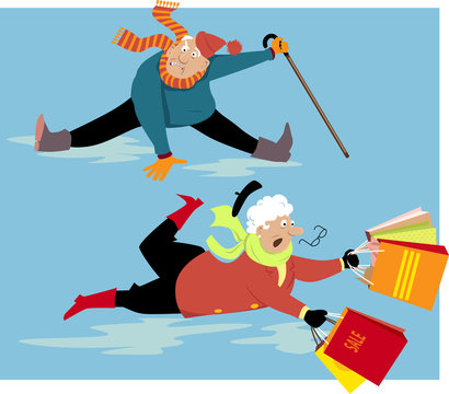 Elderly people slipping and falling on ice, EPS 8 vector illustration