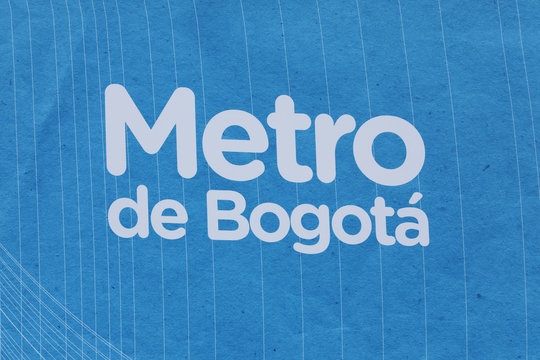 Logo of the Metro public transportation company is seen during the presentation of the award of the contract for the construction of the Bogota subway, in Bogota