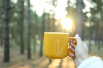 Spoed Foto op Canvas Thee Woman hold yellow cup in forest, space for text