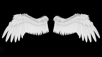 Realistic elegant white angel wings isolated on black background, 3D rendering