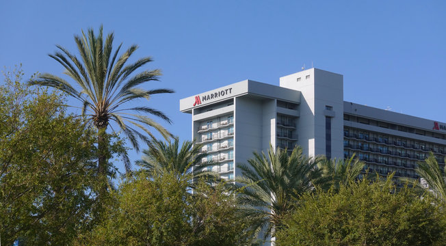 The Marriott hotel at the Anaheim Resort, next to the convention center. Photo taken in Anaheim, CA / USA on October 4, 2019.
