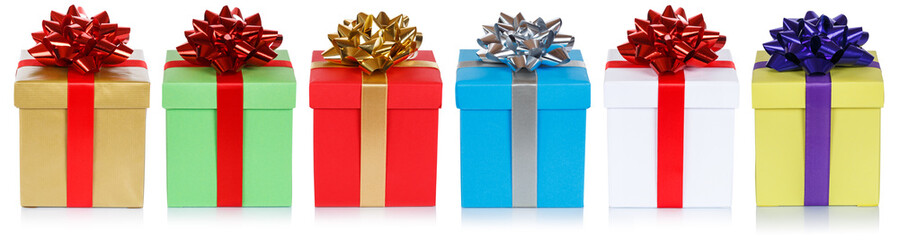 christmas presents birthday gifts in a row isolated on white