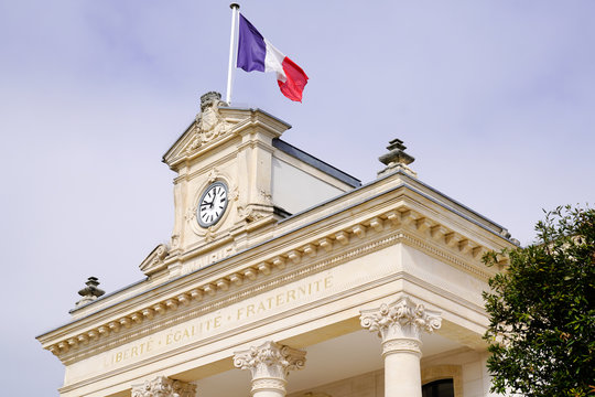french flag city hall in Arcachon town near Bordeaux Gironde