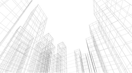Architecture building 3d. Concept sketch. Vector backdrop
