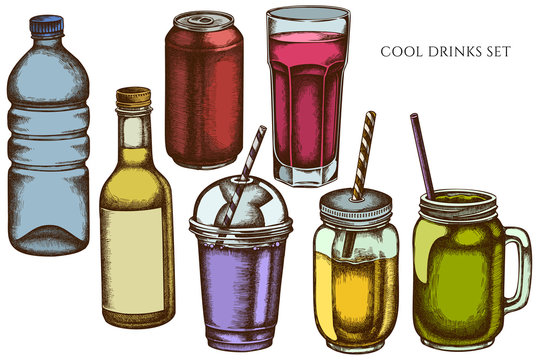 Vector set of hand drawn colored glass, plastic bottle, bottle of lemonade, smoothie cup, aluminum can, smothie jars