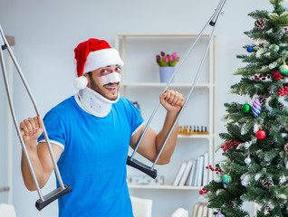 Injured man celebrating christmas at home