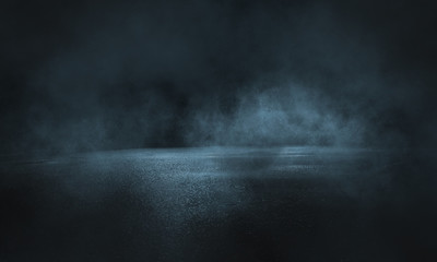 Fotomurales - Dark street, wet asphalt, reflections of rays in the water. Abstract dark blue background, smoke, smog. Empty dark scene, neon light, spotlights. Concrete floor