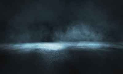 Photo sur cadre textile Gris traffic Dark street, wet asphalt, reflections of rays in the water. Abstract dark blue background, smoke, smog. Empty dark scene, neon light, spotlights. Concrete floor