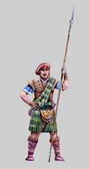 A bold highlander. Scottish warrior drawing. Fantasy figur.