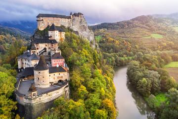 Orava castle and Orava river, morning light, Slovakia, Europe Fototapete