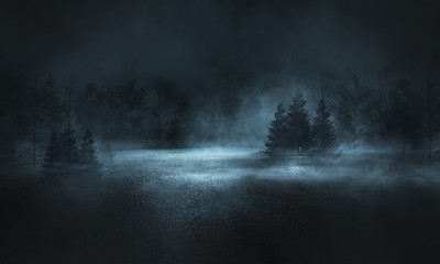 Recess Fitting Gray traffic Abstract dark empty scene. Neon light, silhouettes of trees, water, big moon. Abstract night landscape. Dark forest background.